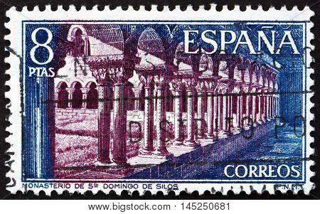 SPAIN - CIRCA 1973: a stamp printed in the Spain shows St. Domingo de Silos Monastery Burgos Cloister Walk circa 1973