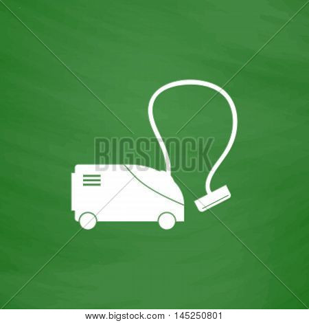 Vacuum cleaner. Flat Icon. Imitation draw with white chalk on green chalkboard. Flat Pictogram and School board background. Vector illustration symbol