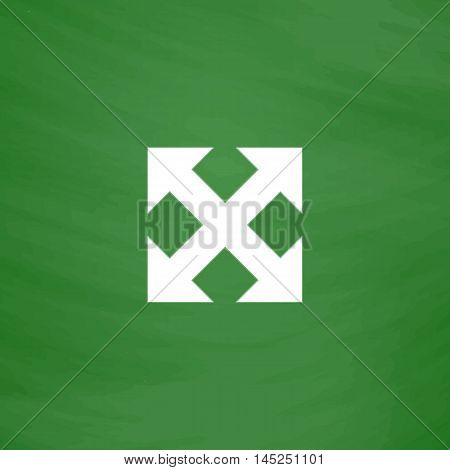 Four sides arrow. Flat Icon. Imitation draw with white chalk on green chalkboard. Flat Pictogram and School board background. Vector illustration symbol