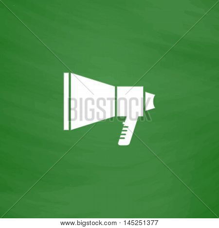 Megaphone. Flat Icon. Imitation draw with white chalk on green chalkboard. Flat Pictogram and School board background. Vector illustration symbol