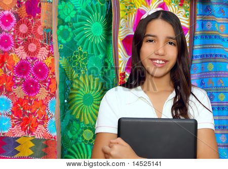 Brunette Teen Student Indian Latin Holding Laptop