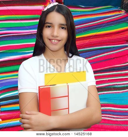 Brunette Student Young Girl Teen Latin Holding Books