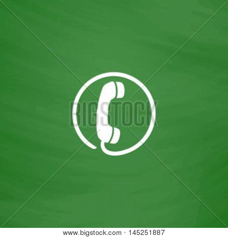 Telephone receiver. Flat Icon. Imitation draw with white chalk on green chalkboard. Flat Pictogram and School board background. Vector illustration symbol