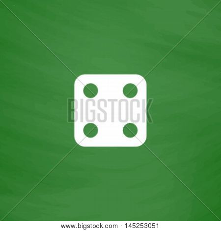 One dices - side with 4. Flat Icon. Imitation draw with white chalk on green chalkboard. Flat Pictogram and School board background. Vector illustration symbol