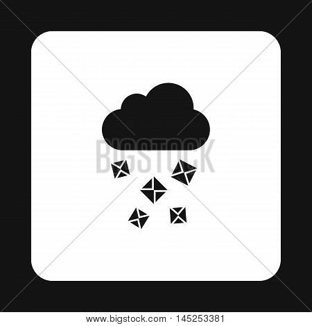 Cloud and hail icon in simple style on a white background
