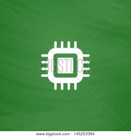 CPU. Flat Icon. Imitation draw with white chalk on green chalkboard. Flat Pictogram and School board background. Vector illustration symbol