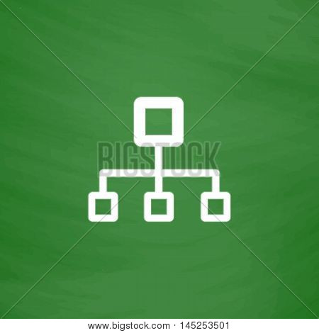 Network block diagram. Flat Icon. Imitation draw with white chalk on green chalkboard. Flat Pictogram and School board background. Vector illustration symbol