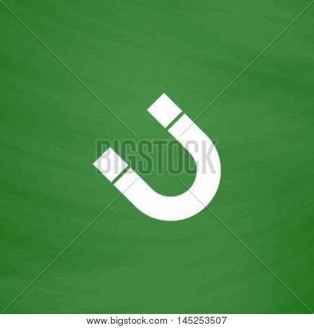 Magnet. Flat Icon. Imitation draw with white chalk on green chalkboard. Flat Pictogram and School board background. Vector illustration symbol