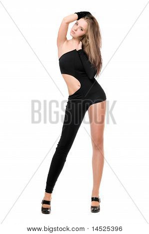 Leggy Young Woman In Skintight Black Costume
