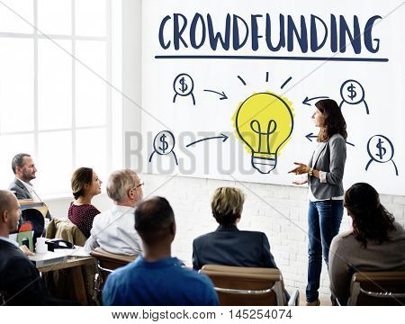 Crowdfunding Money Business Bulb Graphic Concept