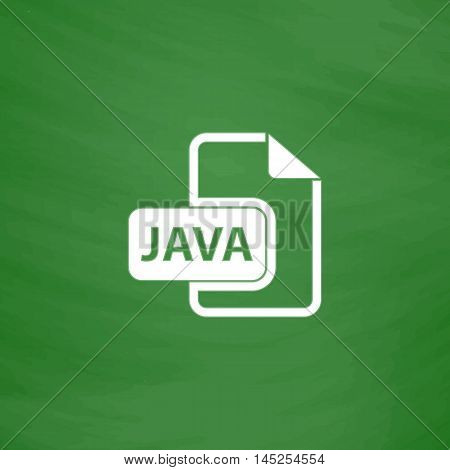 JAVA development file format. Flat Icon. Imitation draw with white chalk on green chalkboard. Flat Pictogram and School board background. Vector illustration symbol