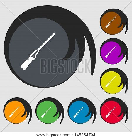 Shotgun Icon Sign. Symbols On Eight Colored Buttons. Vector