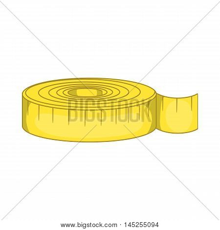 Measuring tape i icon in cartoon style isolated on white background