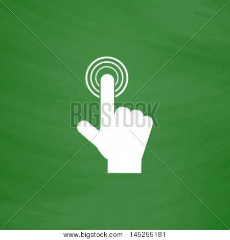 Hand icon pointer - click. Flat Icon. Imitation draw with white chalk on green chalkboard. Flat Pictogram and School board background. Vector illustration symbol