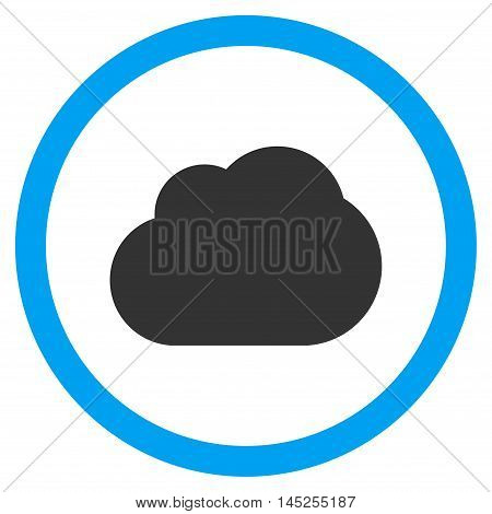 Cloud vector bicolor rounded icon. Image style is a flat icon symbol inside a circle, blue and gray colors, white background.