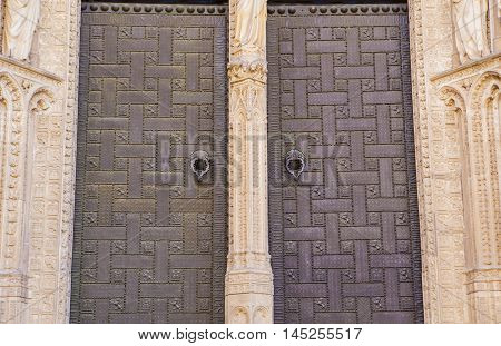 Portal of Forgiveness at Toledo Cathedral. Detail of the door