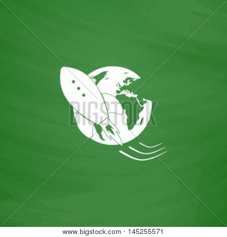 Rocket go to deep space. Flat Icon. Imitation draw with white chalk on green chalkboard. Flat Pictogram and School board background. Vector illustration symbol
