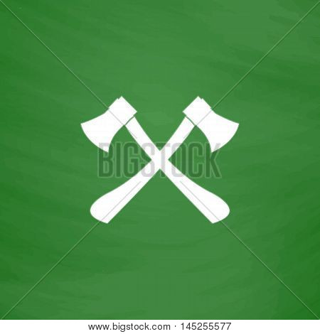 Two axes with wooden handles. Flat Icon. Imitation draw with white chalk on green chalkboard. Flat Pictogram and School board background. Vector illustration symbol