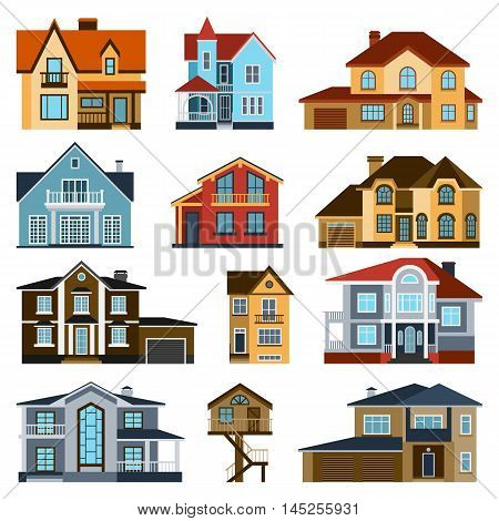 Houses front view vector illustration. Houses flat style modern constructions vector . House front facade building architecture home construction, urban house building s apartment front view