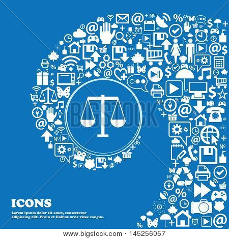 Scales Of Justice Icon . Nice Set Of Beautiful Icons Twisted Spiral Into The Center Of One Large Ico