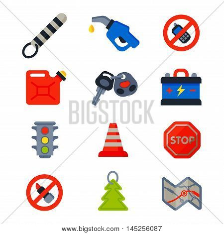 Auto transport motorist icons symbols and equipment auto transport symbols vector. Auto transport service and car driver tools icons high detailed vector set. Motorist driving icons