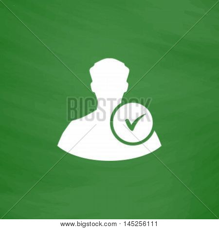 User profile web with check mark glyph. Flat Icon. Imitation draw with white chalk on green chalkboard. Flat Pictogram and School board background. Vector illustration symbol