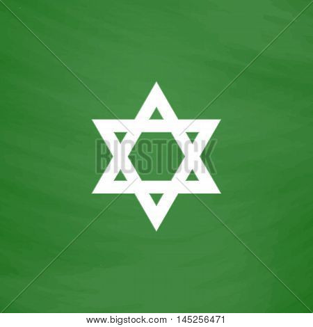 Star of David. Flat Icon. Imitation draw with white chalk on green chalkboard. Flat Pictogram and School board background. Vector illustration symbol