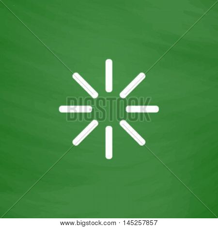 Waiting, Streaming, Buffering, Play, Go. please wait. Flat Icon. Imitation draw with white chalk on green chalkboard. Flat Pictogram and School board background. Vector illustration symbol