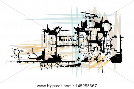 Stylized illustration of a town in ruins. Eps10