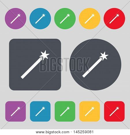 Magic Wand Icon Sign. A Set Of 12 Colored Buttons. Flat Design. Vector