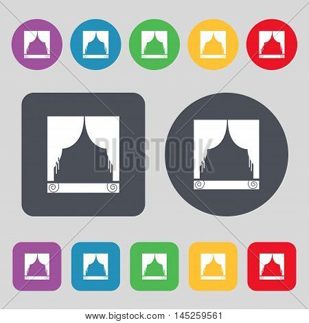 Window Curtains Icon Sign. A Set Of 12 Colored Buttons. Flat Design. Vector