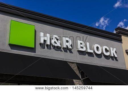 Muncie - Circa September 2016: H&R Block Retail Tax Preparation Location. Block Operates 12000 Locations II