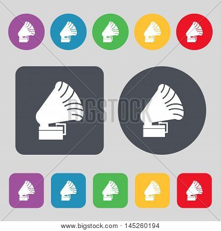 Gramophone Icon Sign. A Set Of 12 Colored Buttons. Flat Design. Vector