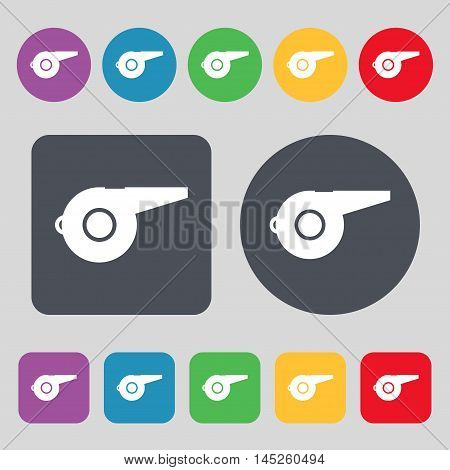 Whistle Icon Sign. A Set Of 12 Colored Buttons. Flat Design. Vector