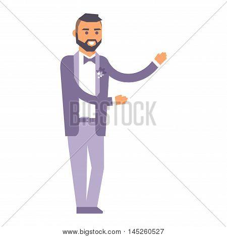 Happy groom boy on wedding romance love vector character. Groom marriage beauty wedding people happiness love man. Groom romantic man isolated