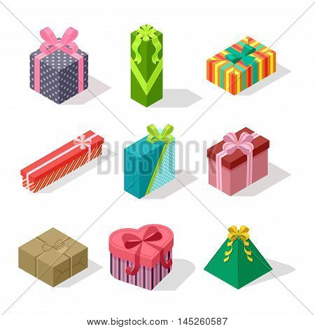 Vector gift box isometric view cardboard container pack. Gift box carton package paper. Gift box celebration holiday isometric receive icon. Some holiday celebrate gift box isolated