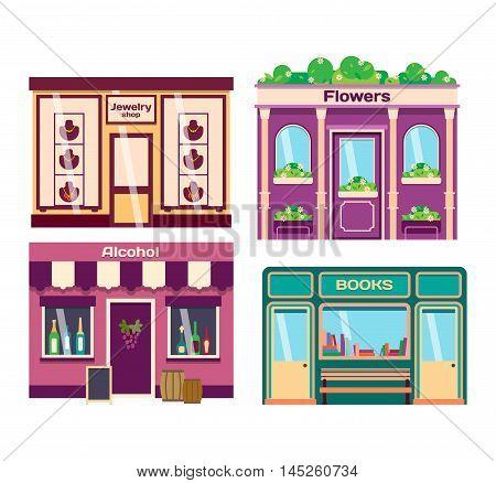 Vector flat design shop facade isolated. Some shop facade isolated on white background. Bakery, pharmacy, electronics store, ice cream shop, book shop facade, butcher shop, trendy clothing store, jewelry store facade.