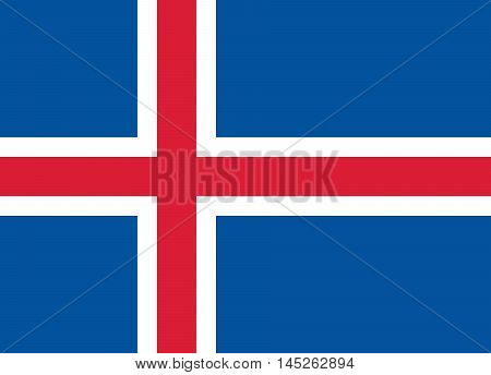 Flag of Iceland in correct size proportions and colors. Accurate dimensions. Icelandic national flag. Vector illustration
