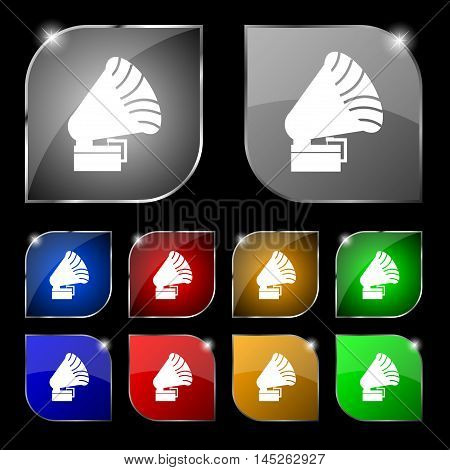Gramophone Icon. Sign. Set Of Ten Colorful Buttons With Glare. Vector Sign. Set Of Ten Colorful Butt