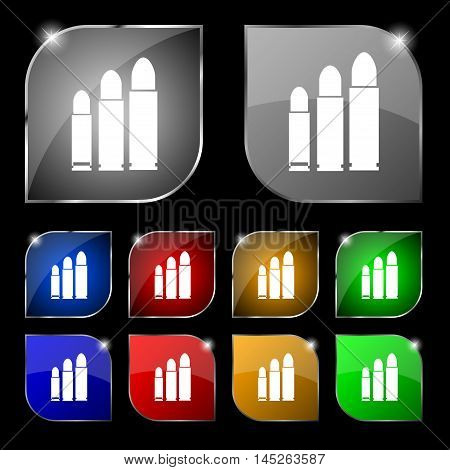 Bullet Icon Sign. Set Of Ten Colorful Buttons With Glare. Vector Sign. Set Of Ten Colorful Buttons W