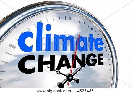 Climate Change Global Warming Clock Time 3d Illustration