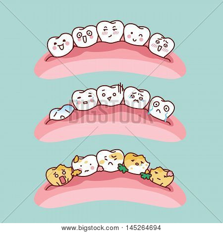 yellow cartoon tooth and white cartoon tooth great for dental care