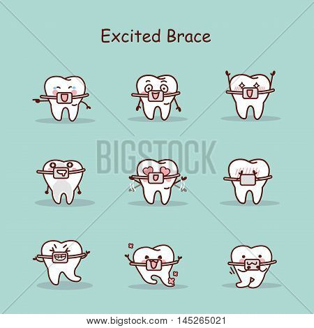 excited cartoon tooth wear brace with various expressions