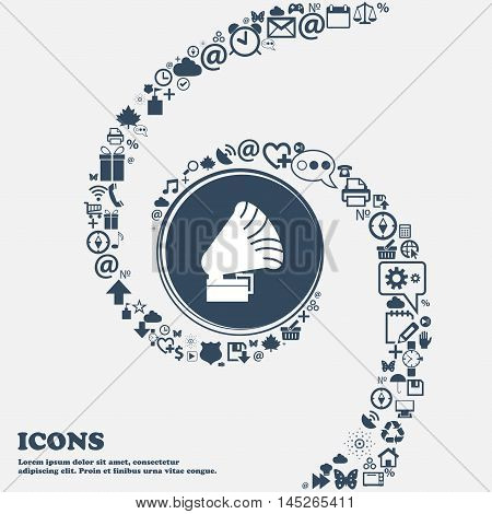 Gramophone Icon. In The Center. Around The Many Beautiful Symbols Twisted In A Spiral. You Can Use E