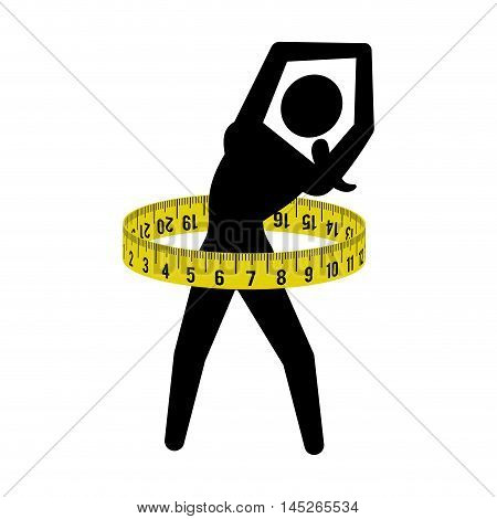 meter woman girl healthy lifestyle fitness gym bodybuilding icon. Flat and Isolated design. Vector illustration