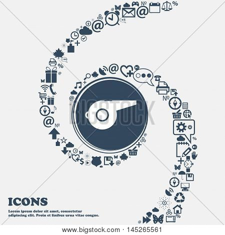Whistle Icon In The Center. Around The Many Beautiful Symbols Twisted In A Spiral. You Can Use Each