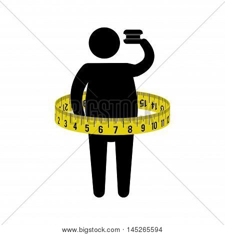 man dick meter healthy lifestyle fitness gym bodybuilding icon. Flat and Isolated design. Vector illustration
