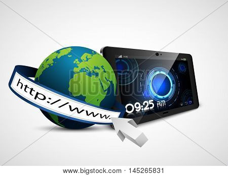 Globe earth with address bar and fingerprint on tablet isolated on white background