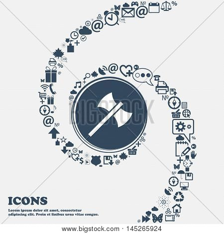 Battle Axe Icon In The Center. Around The Many Beautiful Symbols Twisted In A Spiral. You Can Use Ea