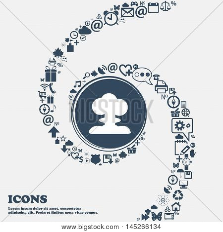Explosion Icon In The Center. Around The Many Beautiful Symbols Twisted In A Spiral. You Can Use Eac